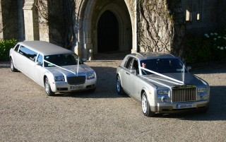 Silver Rolls Royce Phantom with Silver Baby Bentley Limo